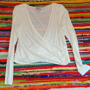 White long sleeve surplice top